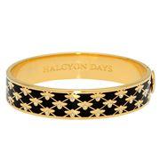 Halcyon Days - Bee Sparkle Trellis Black Gold Hinged Bangle