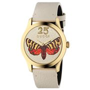 Gucci - G-Timeless Butterfly Dial White Leather Strap Watch
