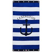 Lexington - Graphic Velour Beach Towel Blue/White 100x180cm