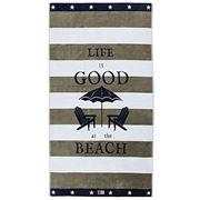 Lexington - Graphic Velour Beach Towel Green/White 100x180cm