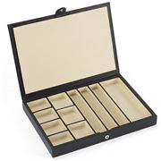 Redd Leather - Slimline Jewellery Box w/Suede Dividers Black