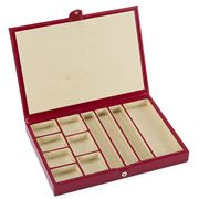 Redd Leather - Slimline Jewellery Box W/Suede Divider Cherry