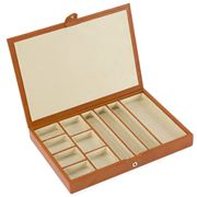 Redd Leather - Slimline Jewellery Box W/Suede Divider Cognac