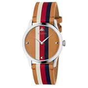 Gucci - Timeless Brown WBR Striped Dial Watch 38mm