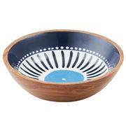 Amalfi - Santorini Wood & Enamel Serving Bowl