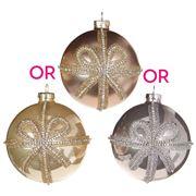Raz - Champagne Life Jeweled Bow Ball Ornament