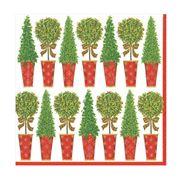 Caspari - Topiary Stripe Lunch Napkins Ivory 20pce