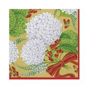 Caspari - Snowball Hydrangeas Lunch Napkins Gold 20pce