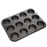 MasterPro - Non-stick 12 Cup Muffin Pan Grey 35x27cm