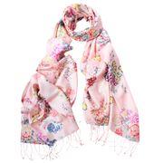 DLUX - Napoli Silk Flower Hand Printed Scarf Pink