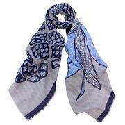 DLUX - Orpheus Cotton/Linen Print Scarf Blue