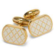 Halcyon Days - Agama Rectangular Cream & Gold Cufflinks