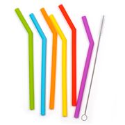RSVP - Silicone Straws with Brush Set 15cm 6pce