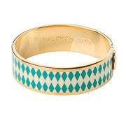 Halcyon Days - Parterre Turquoise Cream & Gold Hinged Bangle