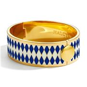 Halcyon Days - Parterre D. Cobalt Cream & Gold Hinged Bangle