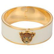 Halcyon Days - Leopard Head Cream & Gold Hinged Bangle