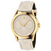 Gucci - G-Timeless White GG Dial White Strap Watch 38mm