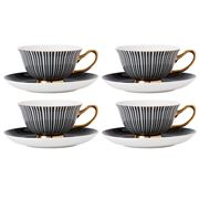 Ashdene - Parisienne Teacup & Saucer Set Black 4pce