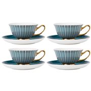 Ashdene - Parisienne Teacup & Saucer Set Midnight Green 4pce