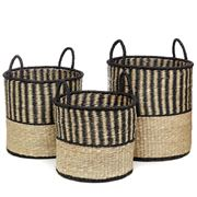 Tribe Home - Medina Basket Set Black/Natural 3pce