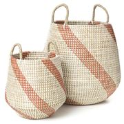 Tribe Home - Seagrass Basket Set White/Coral 2pce