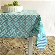Carnival - Mosaic Print Tablecloth Aqua 150x250cm