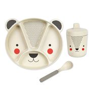 Petitcollage - Bamboo Dinnerware Set Bear 3pce