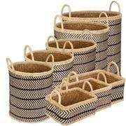 Peter's - Palm Leaves Combo Basket Black & White Set 8pce
