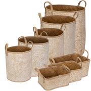 Peter's - Palm Leaves Combo Basket Natural & White Set 8pce