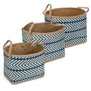 Peter's - Palm Leaves Oval Basket Blue Set 3pce