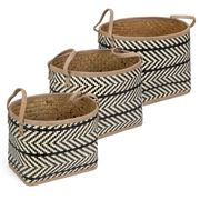 Peter's - Palm Leaves Oval Basket Black Set 3pce
