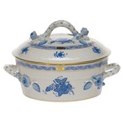 Herend - Chinese Bouquet Blue AB Covered Vegetable Dish