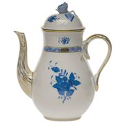 Herend - Chinese Bouquet Blue AB Coffee Pot with Rose