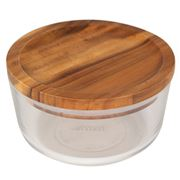 Pyrex - Round Food Storage Dish with Wooden Lid Large