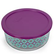 Pyrex - Round Diamond Food Storage Dish Purple 1.65L