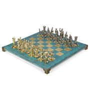 Manopoulos - Greek Roman Chess Set with Turquoise Board 44cm