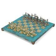 Manopoulos - Greek Roman Chess Set w/ Turquoise Board 36cm