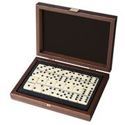 Manopoulos - Domino Set in Dark Walnut Replica Wooden Case