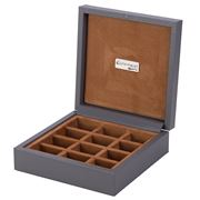 Renzo - Grey Leather Cufflink Box 12 Compartments