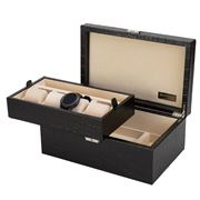 Renzo - Crocodile Black Leather Watch & Jewellery Case