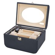 Renzo - Leather Jewellery Box Navy Blue
