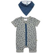 Marquise - S/Sleeve Romper and Bib Grey Marle Size 00