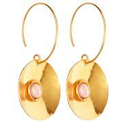Sylvia Toledano - Dancing Curve Disc Earrings Rhodochrosite