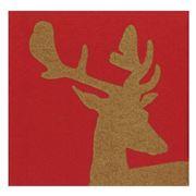Caspari - Alpine Stag Paper Linen Red Napkins 15pce