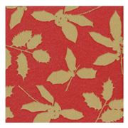 Caspari - Holly Silhouettes Paper Linen Red Napkins 15pce