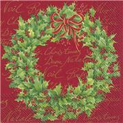 Marimekko - Holly Wreath Red Lunch Napkins 20pce