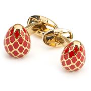 Halcyon Days - Agama Egg Red & Gold Cufflinks