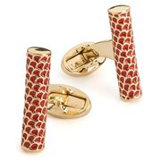 Halcyon Days - Salamander Single Tube Red Gold Cufflinks