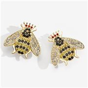 Halcyon Days - Sparkle Queen Bee Clip On Earrings Gold