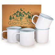 Golden Rabbit - Glampware Rolled Sea Glass Rim Mug Set 4pce
